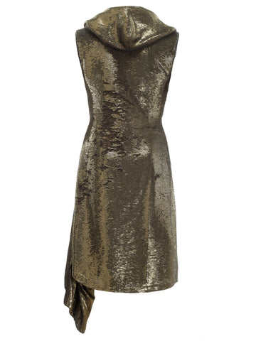 Gold sequin dress with hood