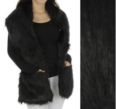 Black Faux Fur Scarf with Pockets