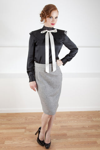 Silk Blouse with Layered neckline and bow