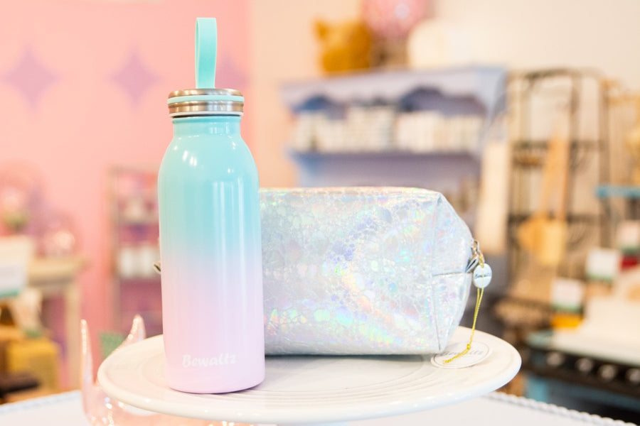 Makeup bag holographic rose gold