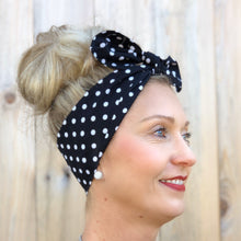 Load image into Gallery viewer, Black and White Polka Dot Headwrap