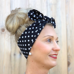 Black and White Polka Dot Headwrap