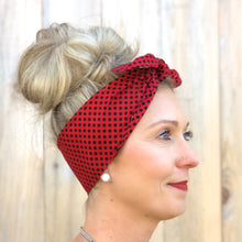 Load image into Gallery viewer, Red and Black Small Polka Dot Headwrap