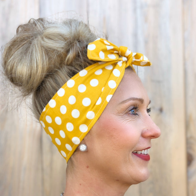 Mustard and White Polka Dot Headwrap