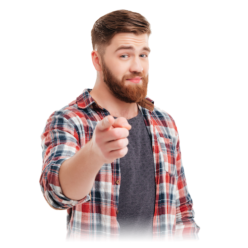 Picture of a bearded men, smiling and pointing forward