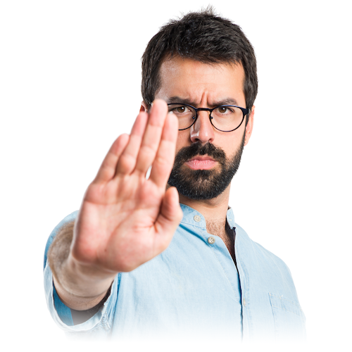 Picture of a bearded men, looking serious and making a stop sign with his hand