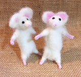Two White Mice needle felted by Jan Horrox