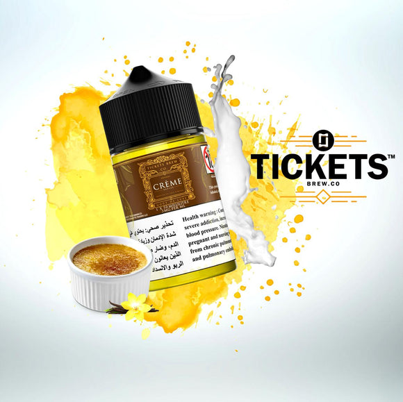 TICKETS E JUICE - CREME BRULEE 50ML - 3MG - Vape Marche