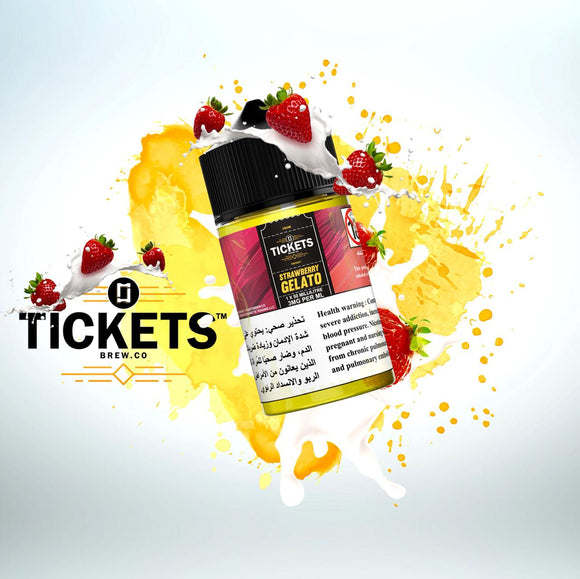 TICKETS E JUICE - STRAWBERRY GELATO 50ML - 3MG - Vape Marche