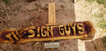 Load image into Gallery viewer, CHAINSAW Carved Name Log Sign, 4 foot  2 BASE LOGS INCLUDED FREE, Personalized Custom Family Name Log