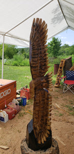 Chainsaw Carved Eagle, Soaring Eagle Wood Carving, 48 inches tall