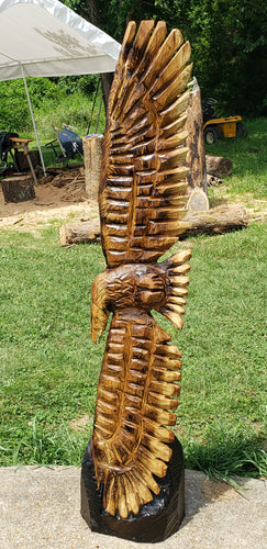 Chainsaw Carved Eagle, 36 inches Soaring Eagle Wood Carving, chainsaw Name Sign, Free Shipping