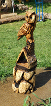 Load image into Gallery viewer, Chainsaw Carving Owl. Chainsaw carved Owl, custom owl carving. 3ft tall, Personalized, Wood Sculpture, Custom Wood Owl Carving