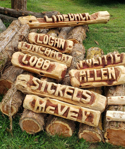 Chainsaw Carving Name log. Custom Cedar Log Wood Sign  personalized for you