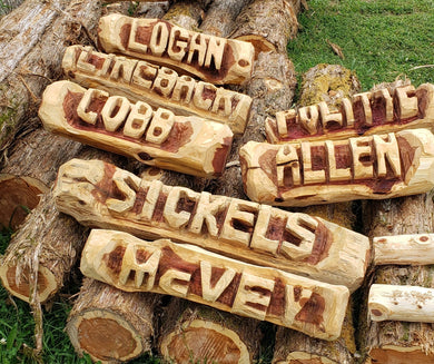 Family Name Log, Cedar Name Log, Family Name Log.  2 BASE LOGS INCLUDED
