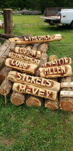 Load image into Gallery viewer, 2 foot family sign, Custom Name sign, Personalized cedar log yard sign. Name Log,