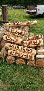 2 foot family sign, Custom Name sign, Personalized cedar log yard sign. Name Log, Free Shipping
