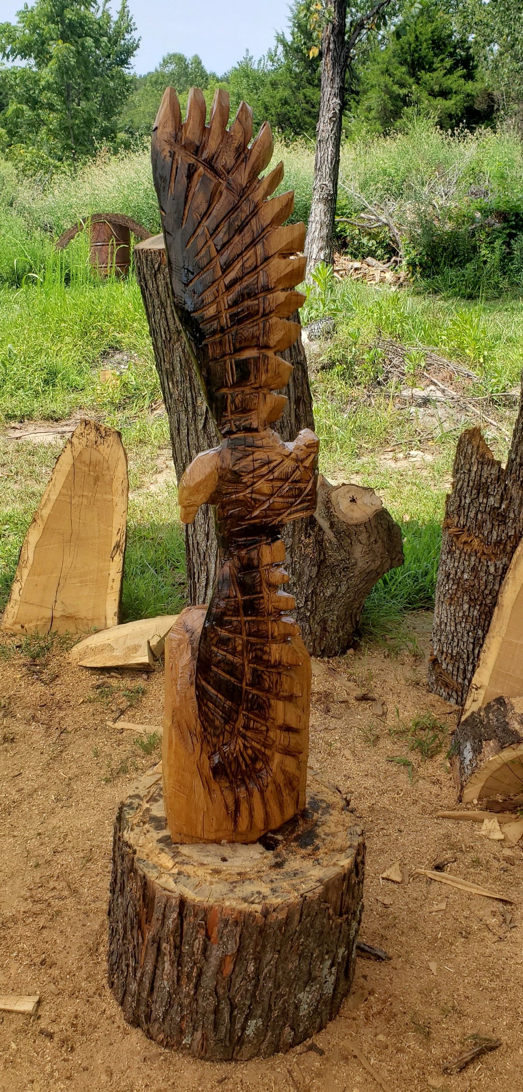 Chainsaw Carving Eagle Soaring. Chainsaw carved eagle, 3 foot tall oak wood chainsaw carving art.  Free Shipping