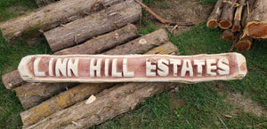 5 ft long Chainsaw Carving Name Log. 2 BASE LOGS INCLUDED FREE,  Yard sign. Chainsaw carved cedar name log.
