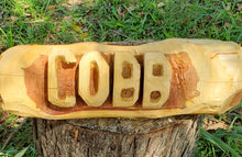 Load image into Gallery viewer, Chainsaw Carving Cedar Name Log sign. Name Log 2 foot family sign, 2 BASE LOGS INCLUDED FREE,  Cedar Yard Sign.