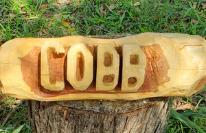 Chainsaw Carving Cedar Name Log sign. Name Log 2 foot family sign, 2 BASE LOGS INCLUDED FREE,  Cedar Yard Sign.