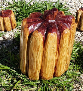 Cedar Chainsaw Carved Pumpkin, large wood pumpkin, cedar carving