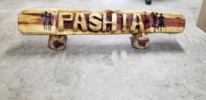5 foot Chainsaw carving Cedar name log. Custom art on log, yard name log