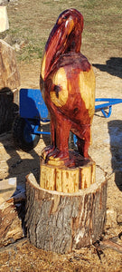 Chainsaw Carved Pelican, 3 foot  pelican, made of Cedar .Custom made Wood Carving. Free Shipping