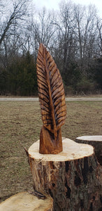 Chainsaw carving oak feather. carved eagle feather, custom wood  carving Chainsaw carving art. Free shipping