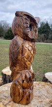 Load image into Gallery viewer, Chainsaw Carving Owl. 2 foot Cedar Cedar Chainsaw Carved owl, owl carvings Rustic chainsaw art.
