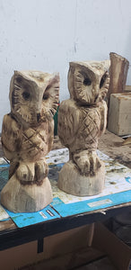 Chainsaw Carving Owl. 2 foot Cedar Cedar Chainsaw Carved owl, owl carvings Rustic chainsaw art.