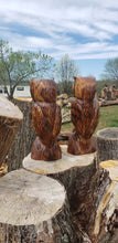 Load image into Gallery viewer, Cedar Chainsaw Carving Owl. Cedar Chainsaw Carved owl, owl carvings.