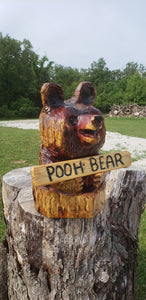 Chainsaw Carving Small Bear in log. cedar Chainsaw Carving Bear. custom sign, Free Shipping