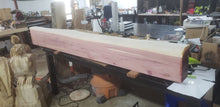 Load image into Gallery viewer, Cedar Live Edge floating fireplace mantel. Rustic cedar fireplace mantels, many length options