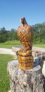 Chainsaw Carving Eagle, personalized 3 foot tall Eagle Wood Carving Chainsaw statue
