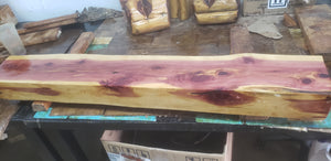 5 foot Cedar Live Edge fireplace mantel. rustic mantel