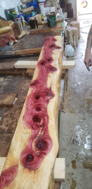 6 foot long Cedar Live Edge fireplace mantel. rustic mantel