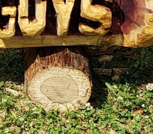 Load image into Gallery viewer, Chainsaw Carving Cedar Name Log, Custom CHAINSAW Custom Carved Rustic Sign, Name Log
