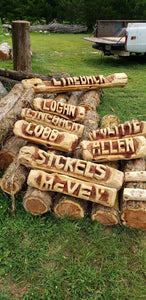 CHAINSAW Carved Name Log Sign, 3 foot  Personalized Name Log Yard Sign,