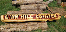 Load image into Gallery viewer, Chainsaw Cedar Name log. Custom Carved Name Log, BASE LOGS INCLUDED FREE