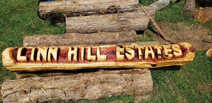 Chainsaw Carving Cedar Name Log, Custom CHAINSAW Custom Carved Rustic Sign, Name Log