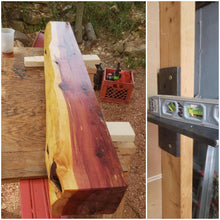 Load image into Gallery viewer, 5 inch thick Cedar Mantel Live edge fireplace mantel, red cedar mantel, many size options