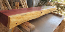 Load image into Gallery viewer, 6 inch thick Cedar Live Edge fireplace mantel. rustic mantel, many sizes