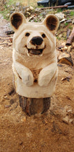 Load image into Gallery viewer, Chainsaw Carving Bear. Chainsaw carved bear in stump welcome sign. Welcome Bear Carving