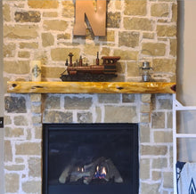 Load image into Gallery viewer, Fireplace mantel  Floating Cedar Mantel Shelf Rustic Red Cedar Beam, many length options