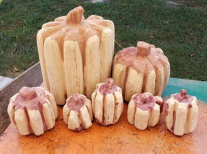Chainsaw Carving Pumpkin, carved wooden pumpkin, cedar carving