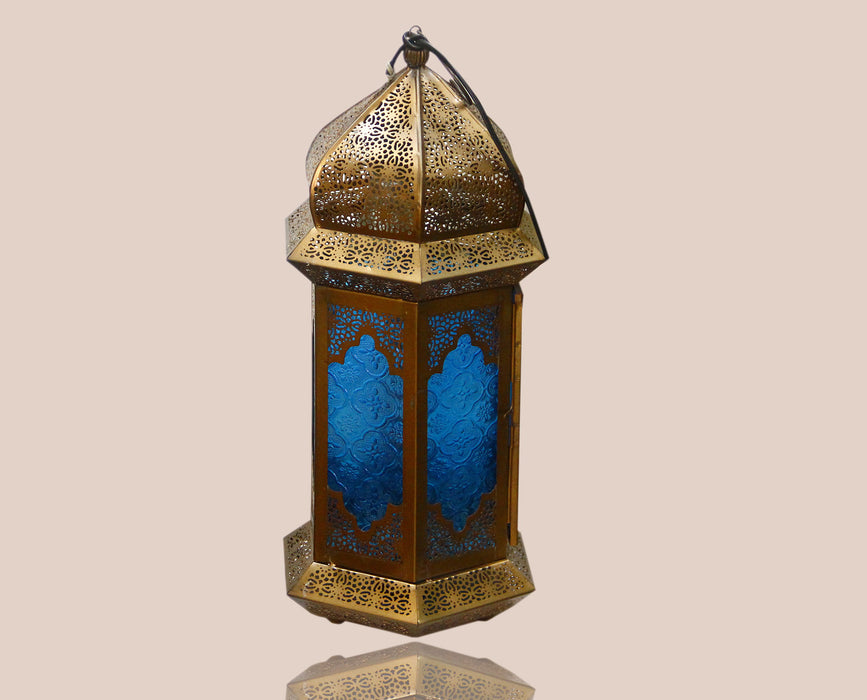 Gold Moroccan Decorated Lamp