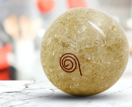 Semi precious Stone Decorative Milky Quartz Fengshui ball