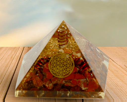 Semi precious Stone Decorative Brown Agate Fengshui Pyramid