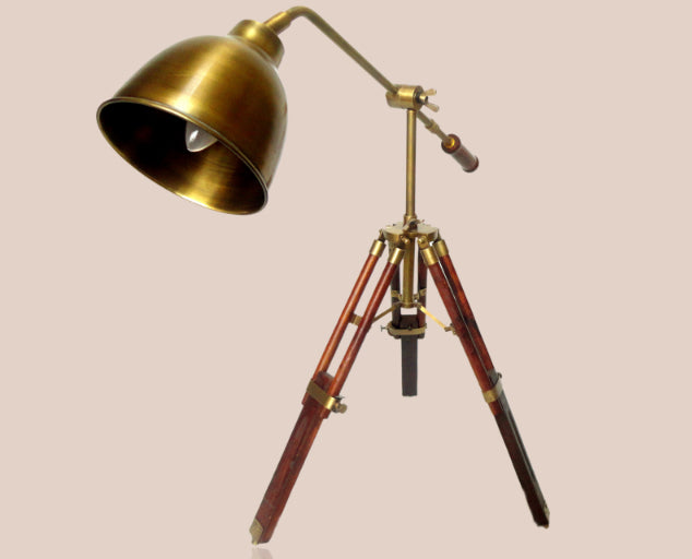 Brass Antique Tripod Table Lamp